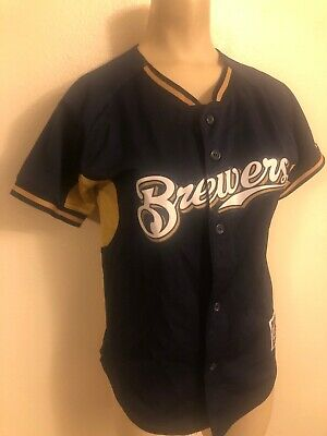 Milwaukee Brewers Majestic Jersey Youth M - Blue Blue