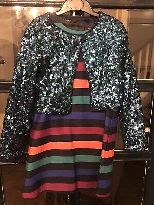 Girls M & S Autograph Party/disco Outfit Age 7-8 Sequin Jacket, Striped Dress