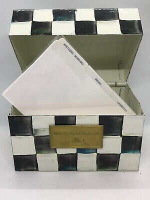 FAB! Retired Vintage MaCKENZIE CHILDS Courtly Check Enamel Recipe Box w Cards