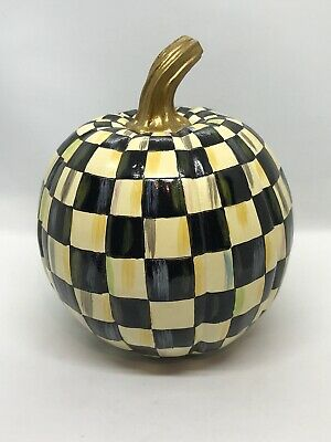 FAB! Retired New MacKenzie Childs Courtly Check Hand Painted Large Pumpkin