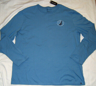 Nautica Long Sleeve T Shirt Men XXL Blue NWT Crew Neck