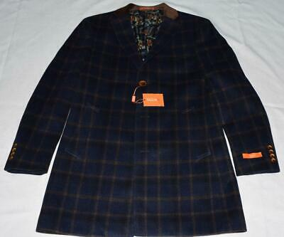 Men Tallia Navy Blue Brown Small Plaid Wool Blend Blazer Sport Coat Jacket 10992