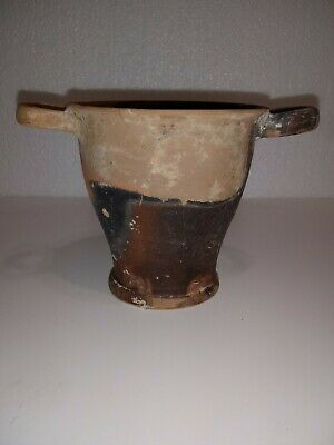 Ancient Etruscan Two Handled Clay Cup - 600 - 550 B.c.-