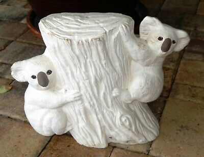 Vintage Two Large Koala Bears Climbing a Tree Stump Ceramic Bisque