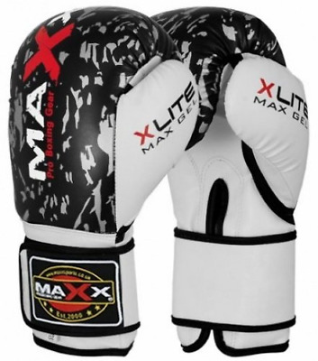 Maxx blk/silver adults boxing gloves Rex leather 10oz - 16oz 12oz