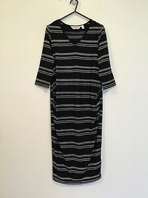DOROTHY PERKINS  NWOT Size 10 Stretch Black/White Stripe Fitted  Maternity Dress