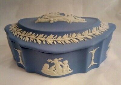 Wedgwood Jasperware Blue & White Covered Trinket Box Made in England