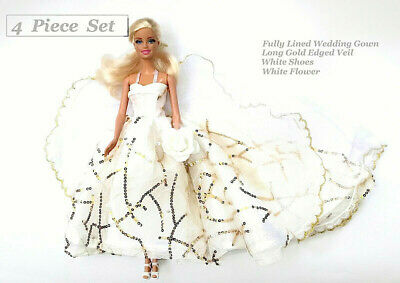 New Barbie doll clothes outfit princess wedding evening bridal gown & veil