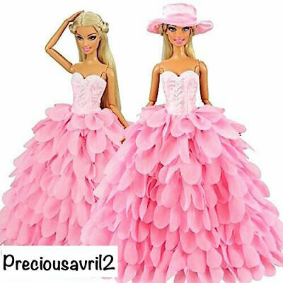 New Barbie doll clothes outfit princess wedding dress gown pink petal dress hat