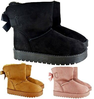 Kids Childrens Girls Warm Ankle Faux Fur Snugg Hug Flat Boots Shoes Size 12-2 Uk