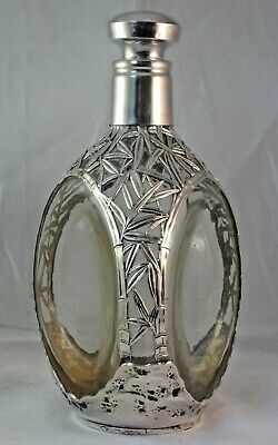 Chinese or Japanese Export Silver Overlay Decanter, Solid 970 Sterling Bamboo