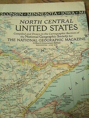 Vintage 1948 North Central United States Map National Geographic Magazine