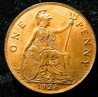 George V Penny 1928 With Luster