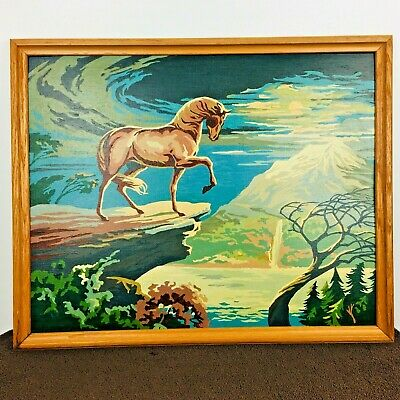 """Vintage Paint By Number Horse on Mountain Cliff Framed 17 x 21"""""""