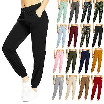 Womens Ladies Combat Cargo Trousers Elasticated High Waist & Cuffs Stretch Pants