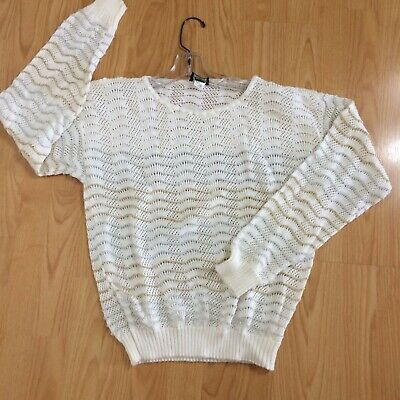 Vtg 80s sweater white metallic silver gold open knit JOLIE holiday glam