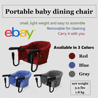 Portable baby highchair foldable feeding chair seat booster safety belt hook-on