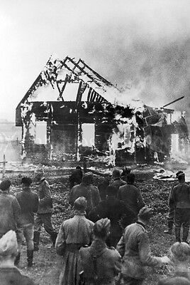 WWII Burning synagogue German soldiers Fire Eastern Front Wehrmacht WW2 photo