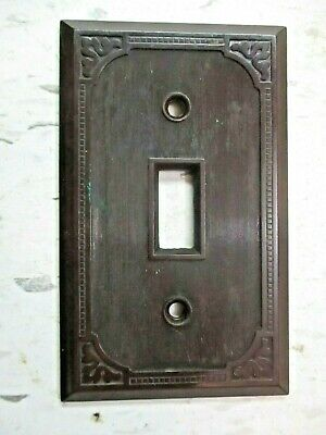 Switch Plate Wall Cover 1900s Dots Lines Corner Swirls Antique Brown Bakelite