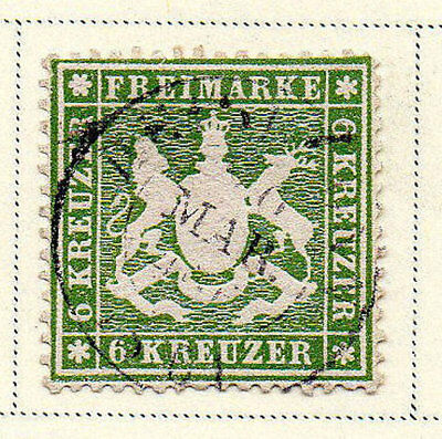Germany - WURTTEMBERG: 1860 6kr green. Perf 13 Scott #21 USED