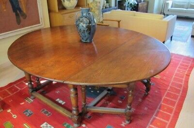 Antique victorian large solid oak oval double gateleg dining table 12-14 seater