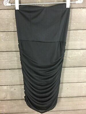 Paula KC 6010 Black Ruched Fitted Dress Women's S