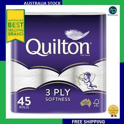 Quilton 3 Ply Toilet Tissue (180 Sheets per Roll, 11x10cm), Pack of 45 FREESHIPP