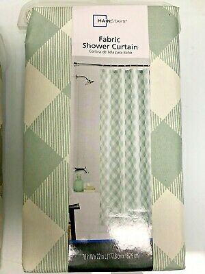 Beige Fabric 70 X 72 Great Quality Well Made NEW Shower Curtain Rust Green