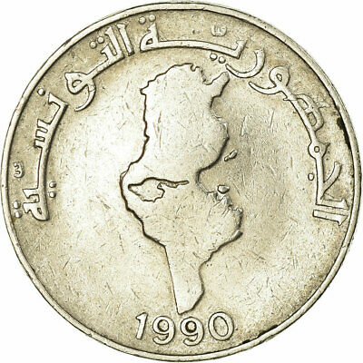 [#319648] Coin, Tunisia, Dinar, 1990, VF, Copper-nickel, KM:319