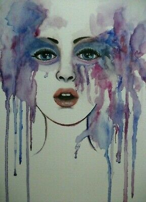 "ORIGINAL 9""x""12 painting Expressive face portrait woman watercolor abstract Art"
