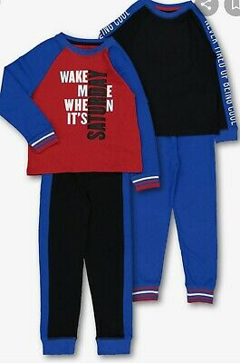 Multicoloured Saturday Slogan Snuggle Fit Boys Pyjama 2 Pack BNIB Age 6-7