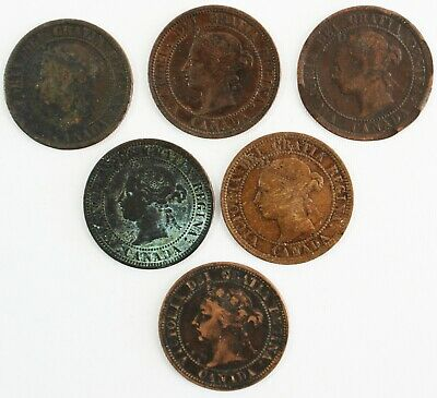 6 Coin Lot 1882-1892 Canada Large Cent CULL Coins 1c Canadian Damaged Coins