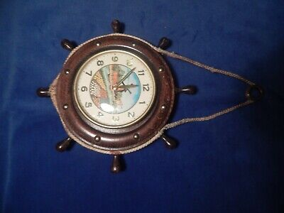Vintage Dutch Windmill Wind Up Clock Working Old Wall Hanging Ships Wheel