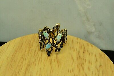 14K Yellow Gold Open Bark Design Ring Band W/ 3 White Opals Size 5.5 #X14-2635
