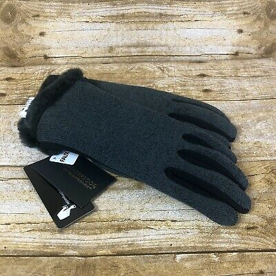 Weatherproof Womens Size Small Gloves Black Gray Fur Trim Cuff Touch Screen