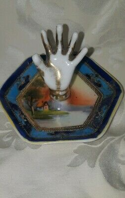 Vintage Antique  Porcelain Hand-painted Hand Ring Holder Noritake - Japan