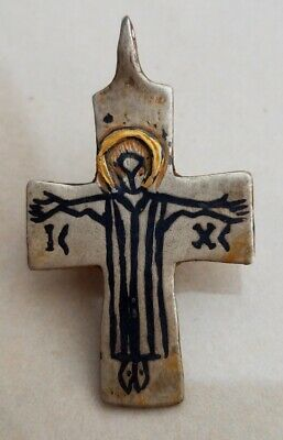 ANCIENT Byzantine silver and gold cross with Crucifix and niello 5th-6th AD
