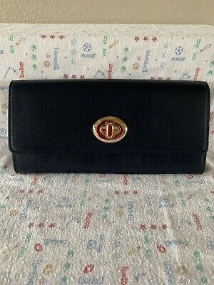 COACH CLUTCH WALLET SMOOTH LEATHER MIDNIGHT BLUE TURNLOCK New With Defects