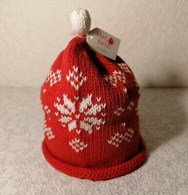 Merry Berries Newborn Baby 100% Cotton Red Knitted Hat w Snowflakes ~ 0-3 Months