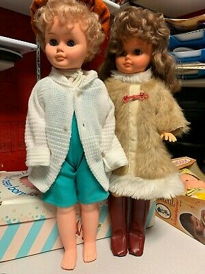 """Vintage Plastic Hollow Pair of Two Dolls 25""""  Regal Canada Blond and Brunette"""