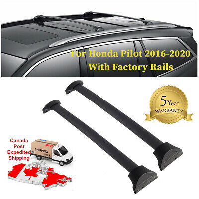 Roof Rack Crossbars Fit 2016-2020 Honda Pilot with Factory Roof Side Rails Black