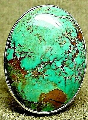 BIG OLD PAWN NAVAJO STERLING SILVER * FINE NATURAL KINGMAN TURQUOISE RING * sz12