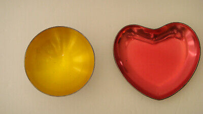 Meka Denmark Silverplate Yellow Enamel Open Salt Cellar & Red Enamel Heart Dish