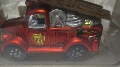 New NIB Old Style Fire Truck Engine ladder fighter Christmas Ornament