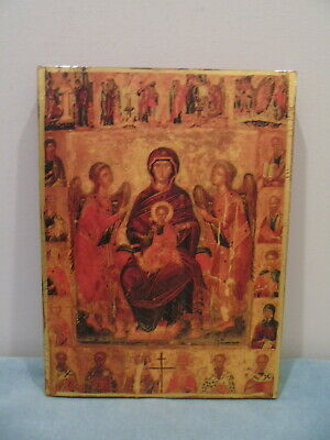 Vintage  Russian Icon Mounted On Wood Virgin Mary & Jesus, Angels & Saints