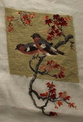 2 Birds on Branch Asian Theme Needlepoint Partially Completed Finished