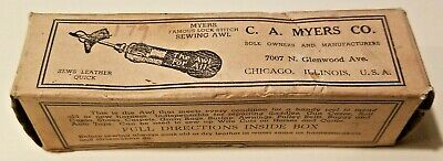 Vintage C A Myers Combination Leather Sewing Awl Original Box Instructions
