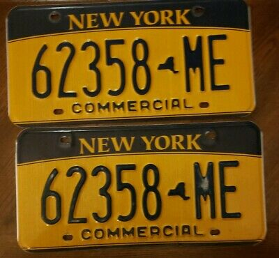 NEW YORK commercial License Plate LOT OF  TWO # 62358-ME Man cave E3