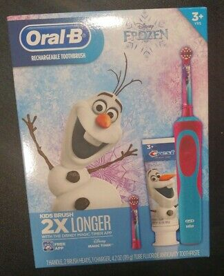 Disney Frozen Elsa Olaf Oral-B Braun Rechargeable Toothbrush Toothpaste Gift Box