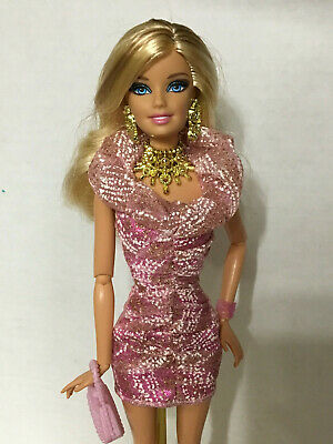 Barbie Fashionistas Glam Doll Articulated Jointed Pink Dress Outfit & Jewelry